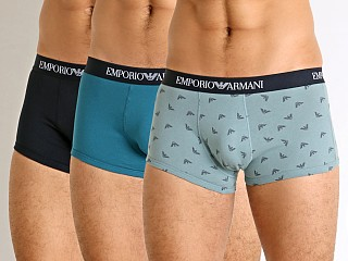 Emporio Armani Pure Cotton Trunks 3-Pack Baltic/Dolphin/Marine