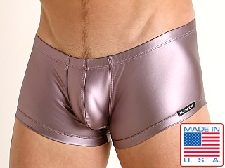 Model in plum Rick Majors Liquid Skin Trunk