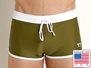 Model in army olive LASC American Square Cut Swim Trunks