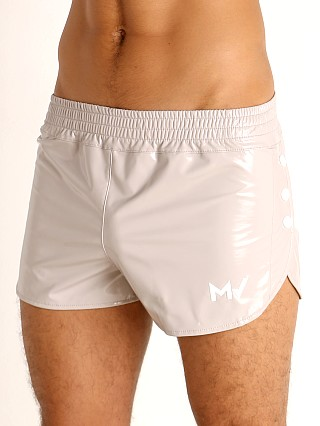 Model in taupe grey Modus Vivendi Shiny Vinyl Line Short