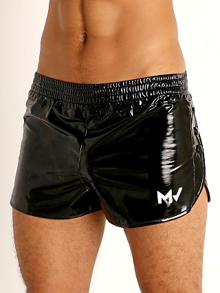 Model in black Modus Vivendi Shiny Vinyl Line Short