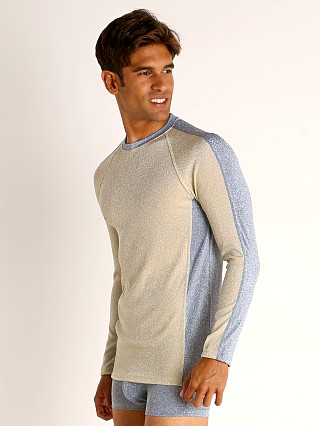 Model in gold/blue Modus Vivendi Glam Sparkle Longsleeve Shirt