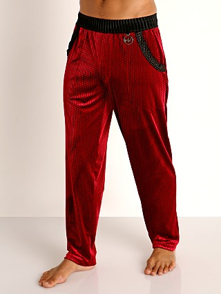 Model in wine Modus Vivendi Tiffany's Velvet Mesh Lounge Pant
