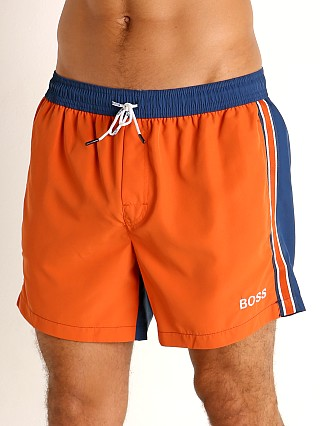 Model in orange Hugo Boss Bluefin Swim Shorts
