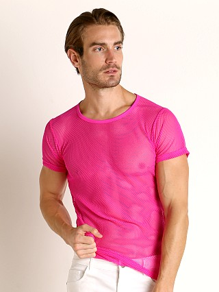 Model in pink Vaux VX1 Mesh See-Thru T-Shirt