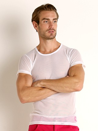 Model in white Vaux VX1 Mesh See-Thru T-Shirt