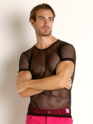 Model in black Vaux VX1 Mesh See-Thru T-Shirt