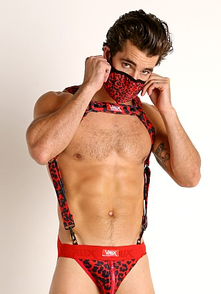 Model in red leopard Vaux VX2 Neoprene Harness