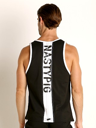 Model in black Nasty Pig Title Ripcord Tank Top