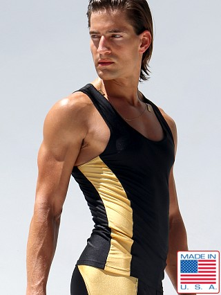 Model in black Rufskin Krypto Anatomic Sport Tank Top
