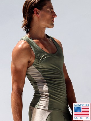 Model in olive Rufskin Krypto Anatomic Sport Tank Top