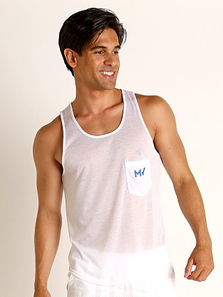 Model in white Modus Vivendi Peace Line Translucent Tank Top