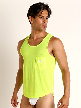 Model in lime Modus Vivendi Peace Line Translucent Tank Top