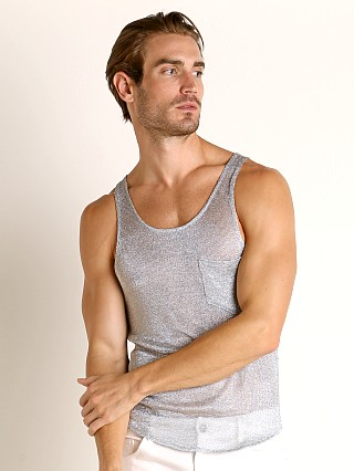 Model in silver Modus Vivendi Armour Line Mesh Tank Top