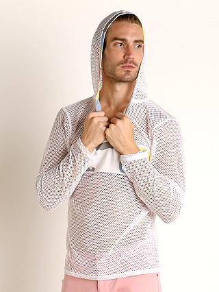 Model in white Modus Vivendi Camouflage Mesh Hoodie