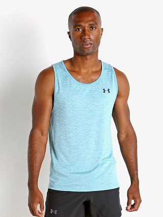 Model in cosmos teal Under Armour Tech 2.0 Tank Top