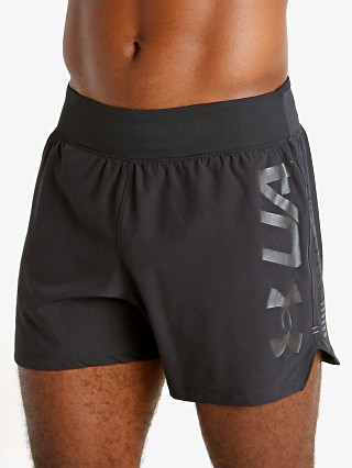 "Model in black Under Armour Speedpocket 5"" Running Short"