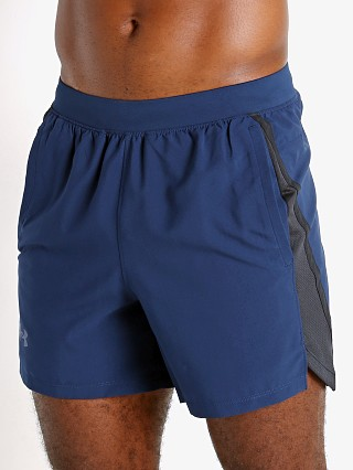 "Model in academy blue Under Armour Launch 5"" Running Short"