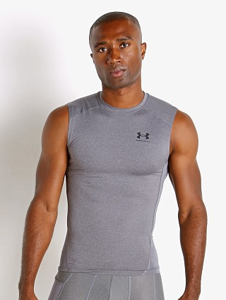 Model in carbon heather Under Armour HeatGear Compression Muscle Tee