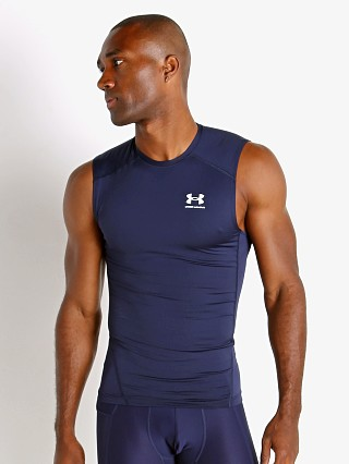 Model in midnight navy Under Armour HeatGear Compression Muscle Tee