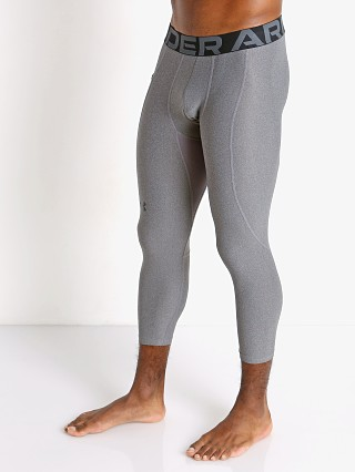 Model in carbon heather Under Armour Heatgear 3/4 Compression Legging
