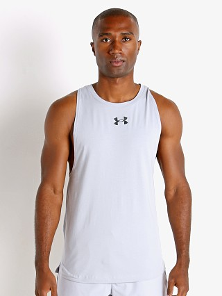 Model in mod gray Under Armour Baseline Cotton Tank Top