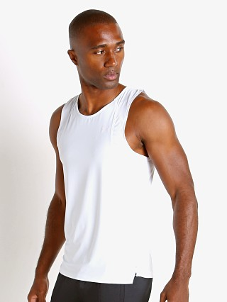 Model in white Under Armour Iso-Chill Running Tank Top