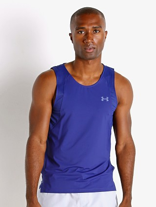 Model in regal blue Under Armour Iso-Chill Running Tank Top