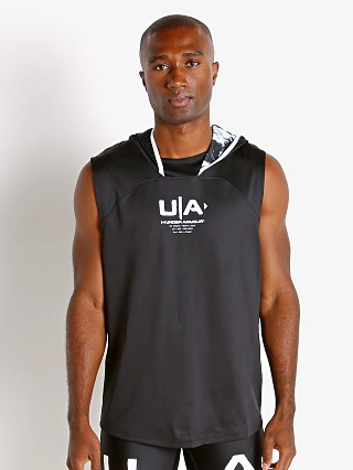 Model in black Under Armour Football Sleeveless Hoodie