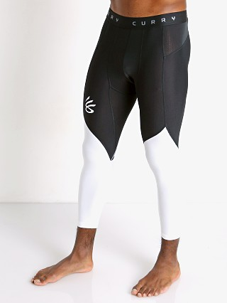 Model in black/white Under Armour Curry UNDRTD 3/4 Compression Tights