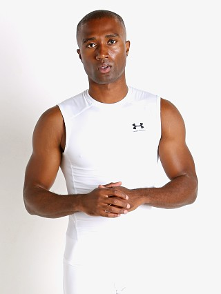 Model in white Under Armour Iso-Chill Compression Tank