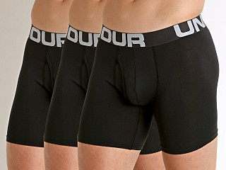 "Model in black Under Armour Charged Cotton 6"" Boxerjock 3-Pack"