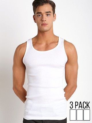 Model in white Calvin Klein Cotton Classics Tank Tops 3-Pack