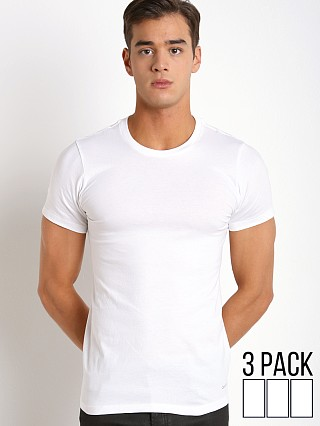 Model in white Calvin Klein Cotton Classics Crew Neck Shirt 3-Pack