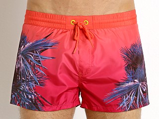 Diesel Palm Print Sandy Swim Shorts Hot Coral