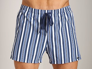 Model in riga blue GrigioPerla Nero Perla Corfu Striped Shorts