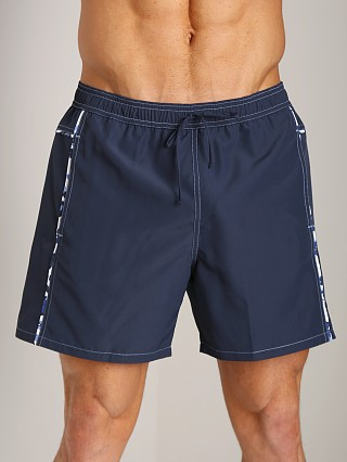 Model in navy GrigioPerla Nero Perla Corfu Long Shorts