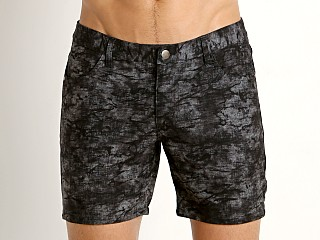 St33le Knit Jeans Shorts Charcoal Brush Stroke Print