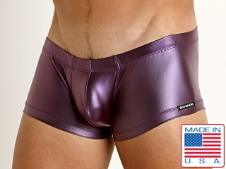 Model in eggplant Rick Majors Liquid Skin Trunk