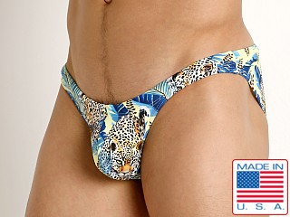 Model in cheetah quest Rick Majors Super Low Rise Swim Brief