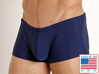 Model in navy Rick Majors Low Rise Swim Trunk