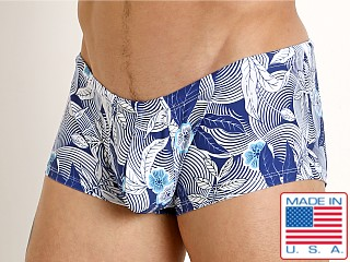 Model in navy flower swirls Rick Majors Low Rise Swim Trunk