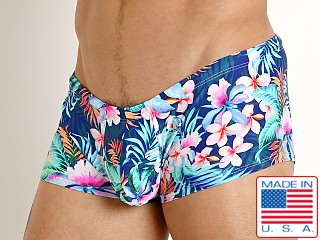 Model in vivid plumeria Rick Majors Low Rise Swim Trunk