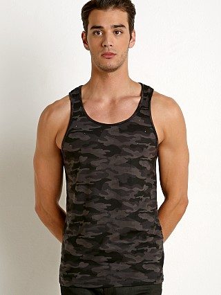 St33le Vintage Wash Distressed Tank Top Black Camo