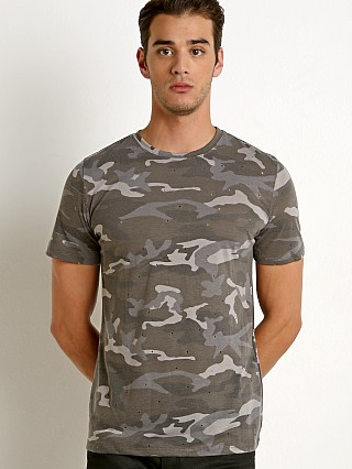 St33le Vintage Wash Distressed Tee Grey Camo