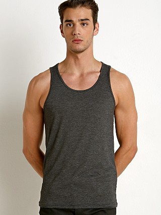 Model in charcaol St33le Stretch Laser Cut Tank