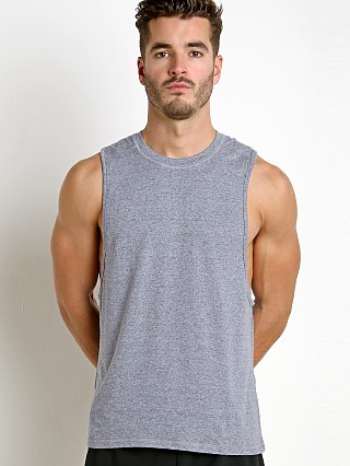 Model in heather navy St33le Performance Heathered Low Armhole Muscle Tank Navy