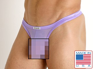 Model in lavender Rick Majors Sheer Mesh Thong