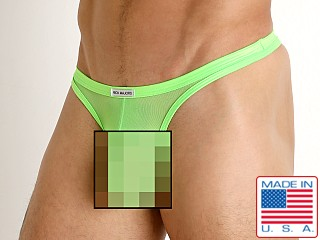 Model in neon lime Rick Majors Sheer Mesh Thong