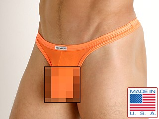 Model in orange Rick Majors Sheer Mesh Thong